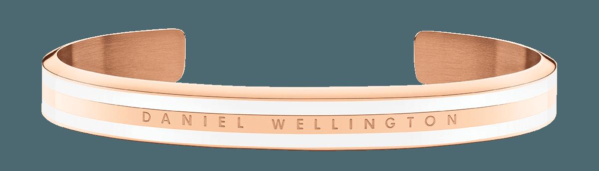Emalie Slim Bracelet Rose Gold Satin White Medium