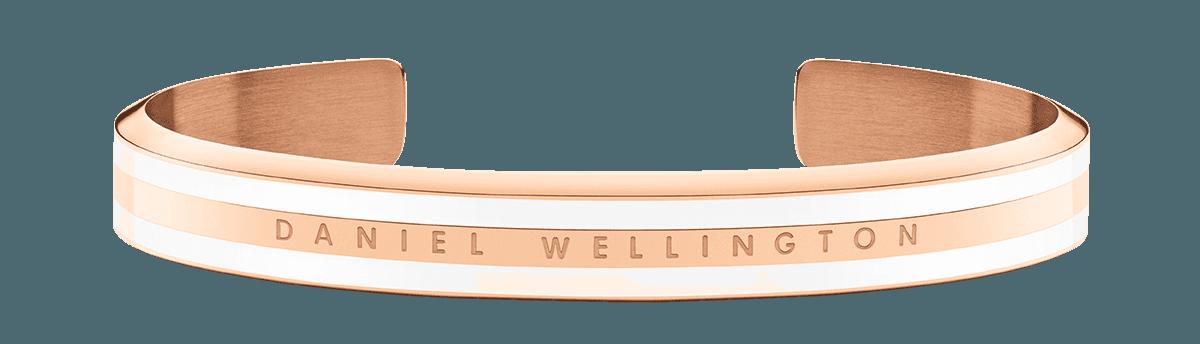 Emalie Slim Bracelet Rose Gold Satin White Small