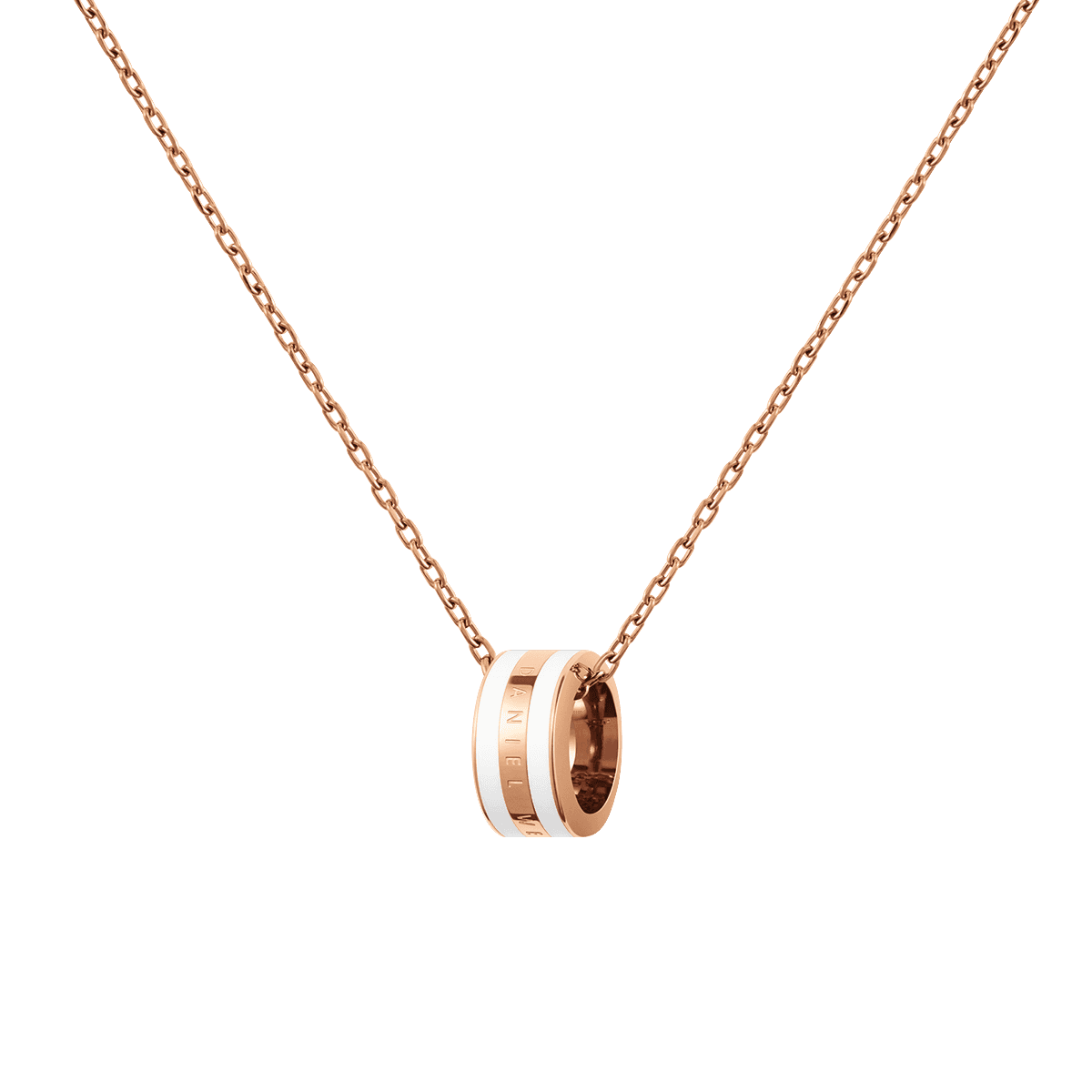 Emalie Necklace Rose Gold Satin White One Size