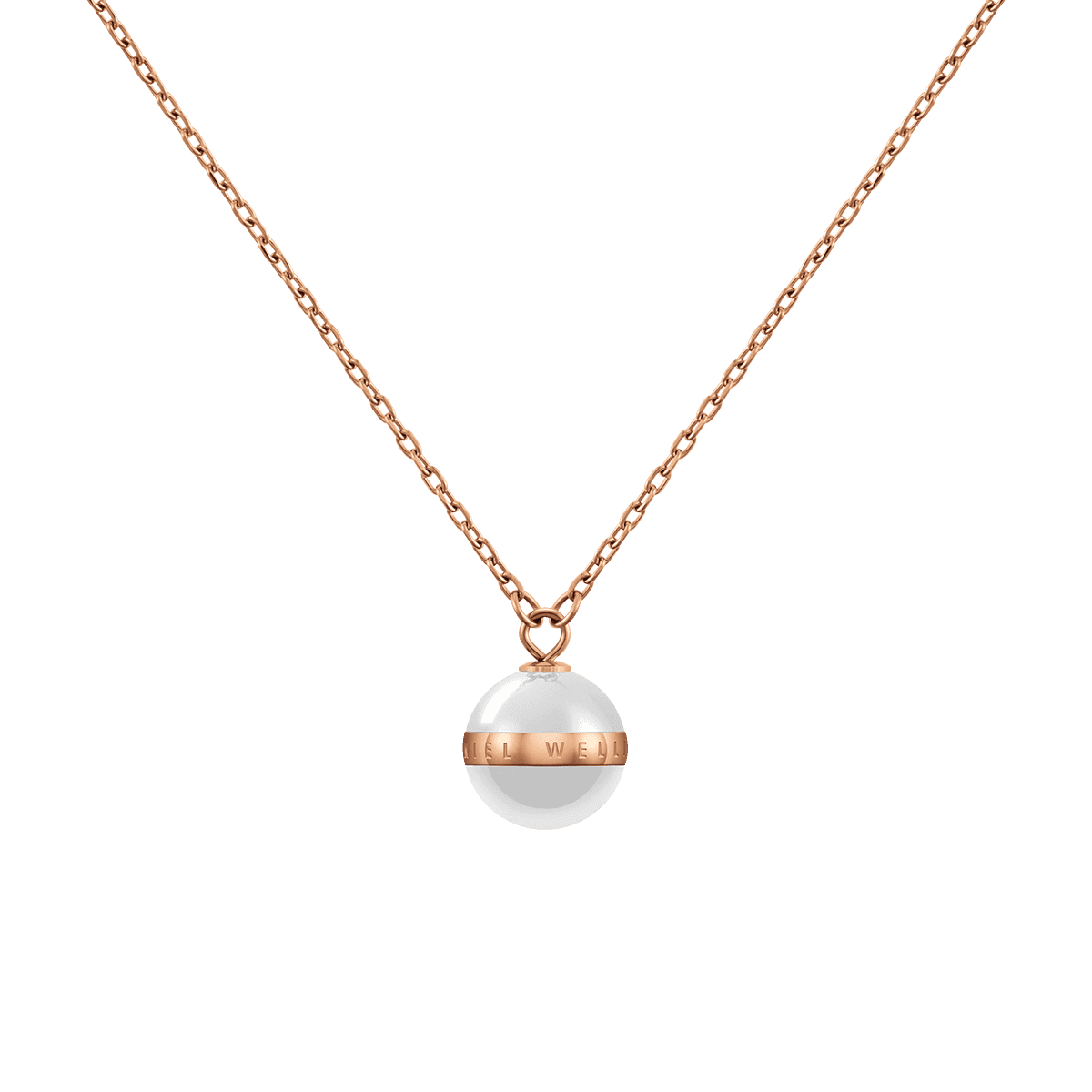 Aspiration Necklace Rose Gold Satin White One Size